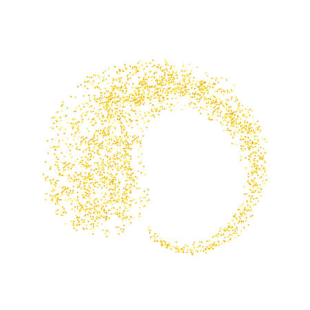 Horizontal curl sprinkled with crumbs golden texture. Background Gold dust on a white background. Sand particles grain or sand. Vector backdrop golden path pieces grunge design illustration.