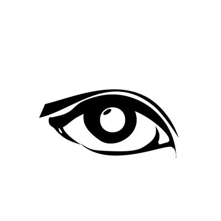 Girl eye, black icon. Art sketch isolated on white background. Woman fashion minimal logo. Vector illustration 矢量图像