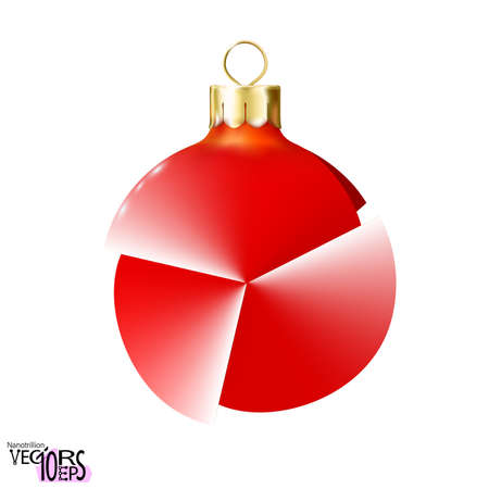 Unusual red Christmas tree toy, ball isolated on white background. Glossy mockup realistic bauble. 3d toy Merry xmas and New year design element, colorful decoration. 免版税图像 - 161219661
