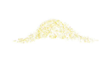 Horizontal wave decor sprinkled with crumbs golden texture. Background Gold dust on a white background. Sand particles grain or sand. Vector backdrop golden path pieces grunge for design illustration.