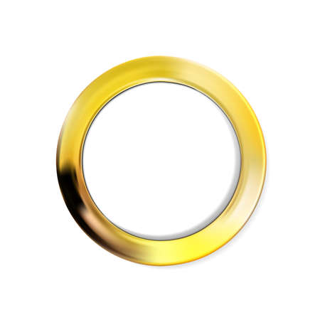 Round gold frame, golden border in circle form, isolated on white background. For photo, just the right thing for your design. Vector illustration Eps 10. 矢量图像