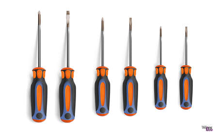 Set flathead screwdriver and  screwdriver different sizes. Professional realistic tool with orange black grip, isolated on white. Cruciform, slotted. Has a shadow. Vector illustration