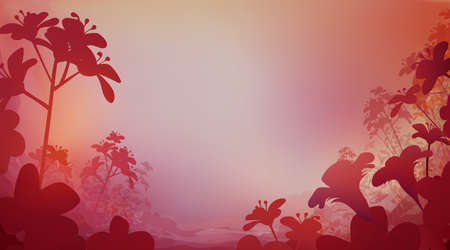 Abstract red pink color background with flowers, horizontal panoramic view. Meadow blur. Vector illustration