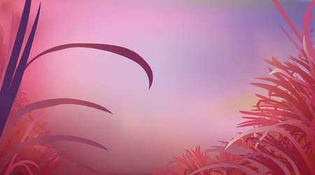 Abstract red pink color background with glade grass, horizontal panoramic view. Meadow blur. Vector illustration
