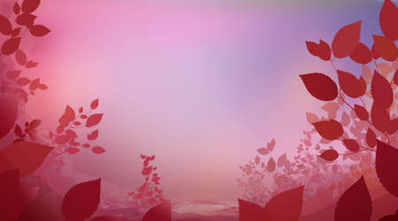 Abstract red pink color background with glade foliage, horizontal panoramic view. Meadow blur. Vector illustration