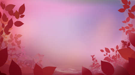 Abstract pink red color background with glade foliage, horizontal panoramic view. Meadow blur. Vector illustration 免版税图像 - 161513672