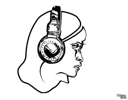 Girl face in headphone, sketch, beauty portrait. Black icon, beautiful engraving hand drawn isolated on white background. Design for music decor, dj, youth hobbies. Vector illustration 矢量图像