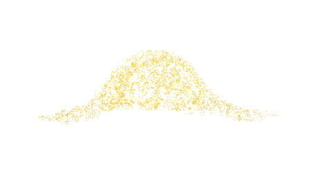 Horizontal decor wave sprinkled with crumbs golden texture. Background Gold dust on a white background. Sand particles grain or sand. Vector backdrop golden path pieces grunge for design illustration. 矢量图像