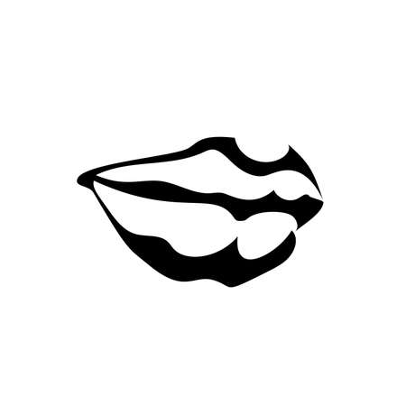 Lips girl icon, black simple sketch isolated on white background. Flat style, Mouth symbol for your web design, app, UI. Vector illustration.