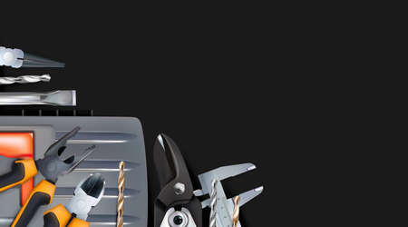 Realistic dark composition, corner on the theme of locksmith or assembler skill. Craft hand metal processing. 3d tools of metalworking isolated on black background. Copy space illustration.