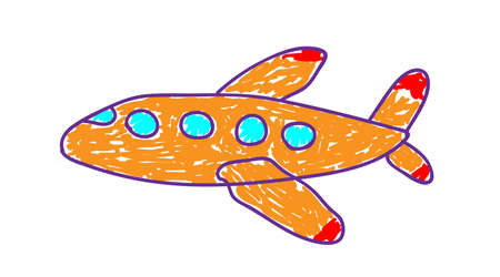 Orange plane in a deliberately childish style. Child drawing. Sketch imitation painting felt-tip pen or marker. Childrens application. Vector illustration