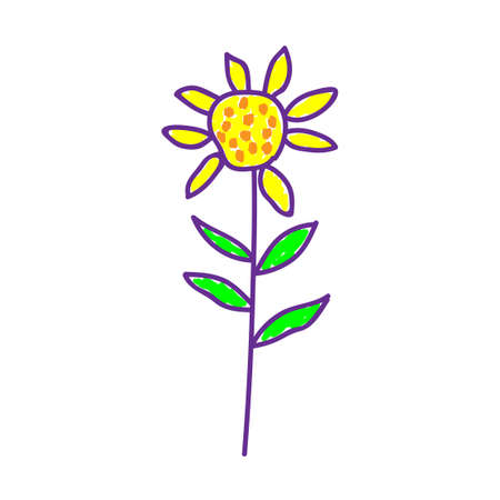 Flowers in a deliberately childish style. Imitation child drawing. Kid sketch, painting felt-tip pen or marker. Kid painted, handmade craft isolated on white. Sunflower. Vector illustration Eps10.