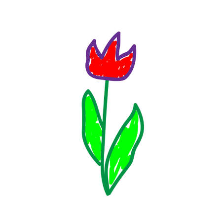 Flowers in a deliberately childish style. Imitation child drawing. Kid sketch, painting felt-tip pen or marker. Kid painted, handmade craft isolated on white. Tulip. Vector illustration Eps10.