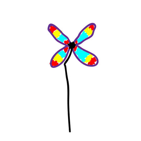 Toy windmill propeller or pinwheel in a deliberately childish style. Imitation child drawing. Kid sketch, painting felt-tip pen or marker. Kid painted handmade by birthday. Vector illustration Eps 10. 矢量图像