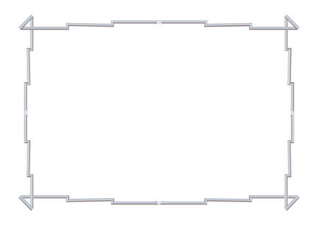 Rectangle realistic stepped frame metal or silver. Slender on white background. Steel, photoframe template. For picture. Vector illustration. Eps 10.