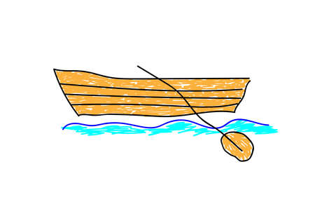 Boat dissecting water surface in a deliberately childish style. Child drawing. Sketch imitation painting felt-tip pen or marker. Vector illustration Eps 10.