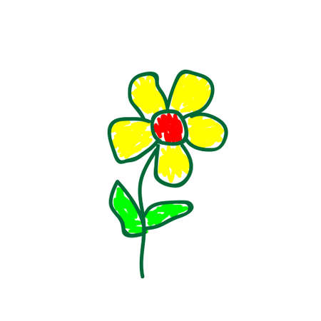 Flowers in a deliberately childish style. Imitation child drawing. Kid sketch, painting felt-tip pen or marker. Kid painted, handmade craft isolated on white. Vector illustration Eps10. 矢量图像