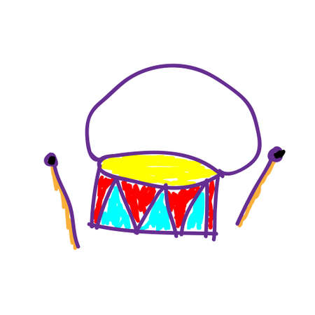 Drum percussion musical instrument in a deliberately childish style. Child drawing. Sketch imitation painting felt-tip pen or marker. Vector illustration Eps 10. 矢量图像