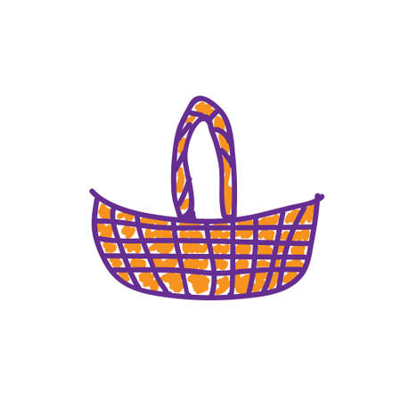 Wicker basket in a deliberately childish style. Child drawing. Sketch imitation painting felt-tip pen or marker. Vector illustration Eps 10.