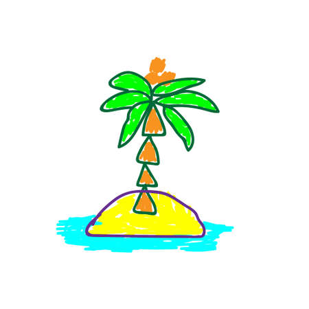 Palm on Island in a deliberately childish style. Child drawing. Sketch imitation painting felt-tip pen or marker. Cartoon Vector illustration Eps 10.