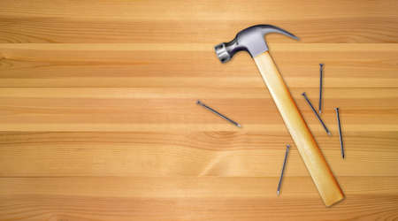 Wood processing, background. Tools of joinery craft or carpentry, composition on wooden workbench backdrop. Woodworking and lumber processing, 3d set. Illustration from copy-space. Workbench, steel realistic hammer and nail with wooden handle. Work tool. Detailed of close up. Wooden texture, pine board, spruce table. Horizontal banner. Top view light wood textured surface with natural pattern. Timber backdrop. Rustic craft.