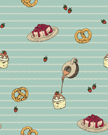 choux bun: Isolated Vintage Hand Draw Cupcake, Raspberry Cheesecake, Strawberry and Pretzels Seamless Pattern
