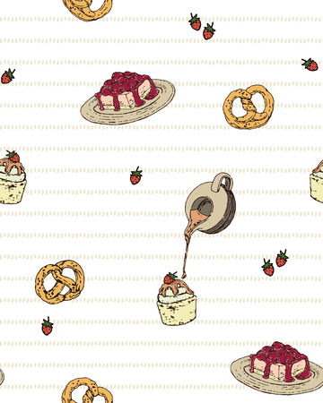 choux bun: Vintage Isolated Hand Draw  Cupcake, Raspberry Cheesecake, Strawberry and Pretzels Seamless Pattern
