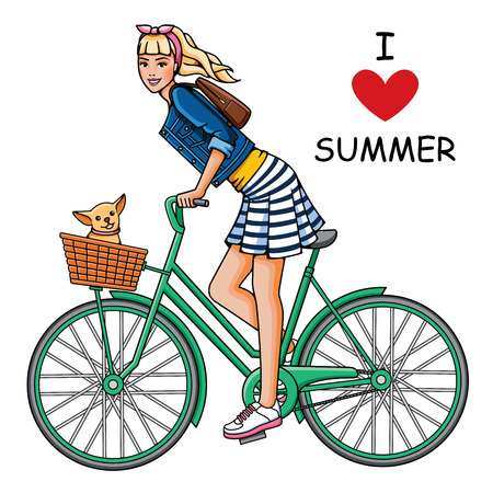 Young, beautiful girl rides a bicycle. Fashion woman and dog in white background. Summer trip