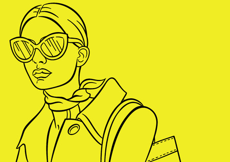 Yellow background with image young, beautiful and fashion woman. Isolated outline, line, contour. Sketch. Lady in sunglasses and coat 向量圖像