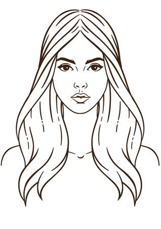 Illustration face in white background. Beautiful and young woman with long hair. Close up portrait
