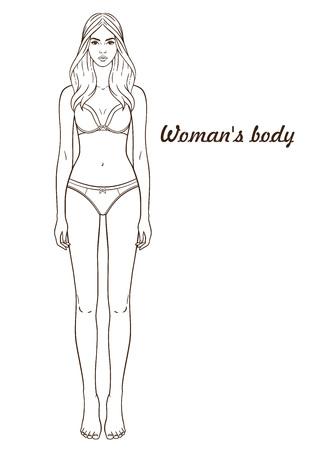 Ilustracja wektorowa ciała kobiety. Na białym tle kontur, linia, kontur. Szablon dziewczyna w bieliźnie. Papierowa lalka