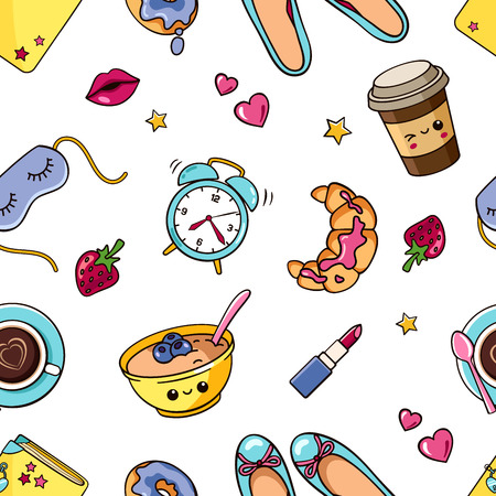 seamless pattern with cute isolated girl elementsin white background. Romantic sweet texture with women's things, stickers, badges, pins. Trendy wallpaper with female accessory