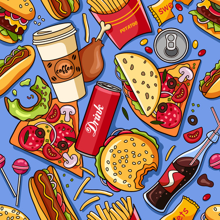 Vector seamless pattern with american fast food. Fun and bright colorful background  イラスト・ベクター素材