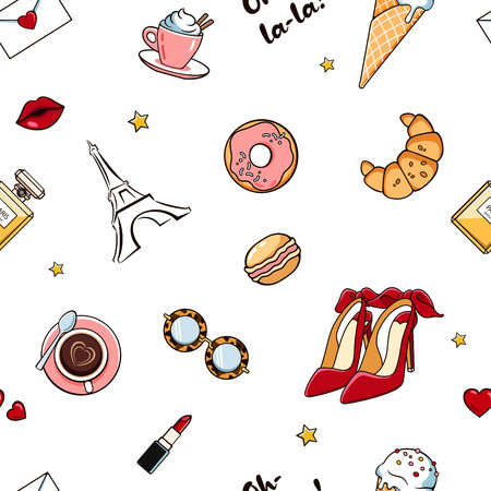 seamless pattern with cute isolated girl elementsin white background. Romantic sweet texture with women's things, stickers, badges, pins. Trendy wallpaper with female accessory. White background in french style