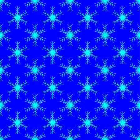 Vector seamless pattern of snowflakes on a blue background. Azuree stars on a blue backdrop.