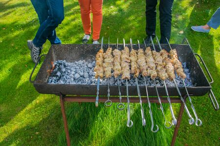 Meat skewers on grill. Cooking outdoor. Barbecue in the garden.