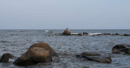 Seascape of the Baltic Sea in Mersrags, Latvia. Cape Mersrags Standard-Bild