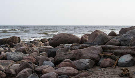 The rocky coast of the Baltic Sea in Mersrags in Latvia. Cape Mersrags