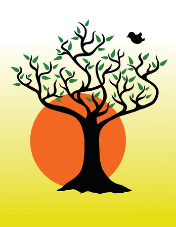 poetic: A tree with green leaves at sunrise with a bird flying nearby   Illustration