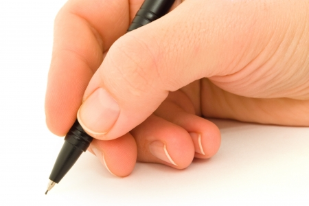 an article: Hand writing with black mechanical pencil on white