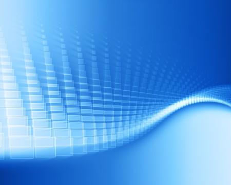 dynamic movement: plazas con trazo blanco en movimiento sobre fondo azul degradado Foto de archivo