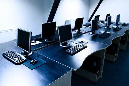 computers in corporate office Banco de Imagens