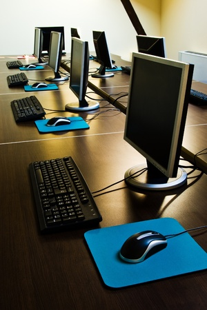 computers with LCDs in classroom Stock Photo - 9237986