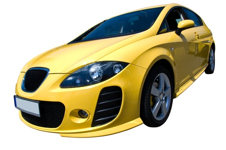 yellow car isolated with clipping path photo