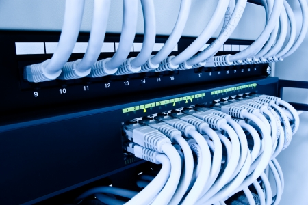 switch on: cables patch panel and network switch