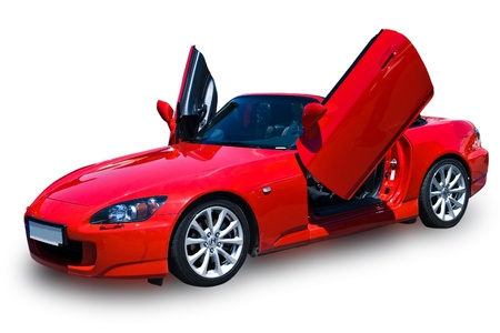 costly: red sport car isolated on white background