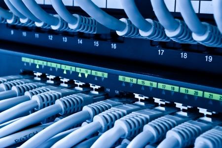 Cable network: cables de revisiones y concentrador de red Foto de archivo