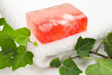 handmade soap white towel and ivy photo