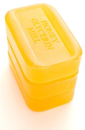 glycerin: three yellow honey glycerin soaps Stock Photo