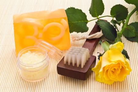 yelllow: skin care objects with yelllow rose